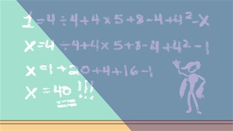 X = 4/4+4*5+8-4+4^2-1