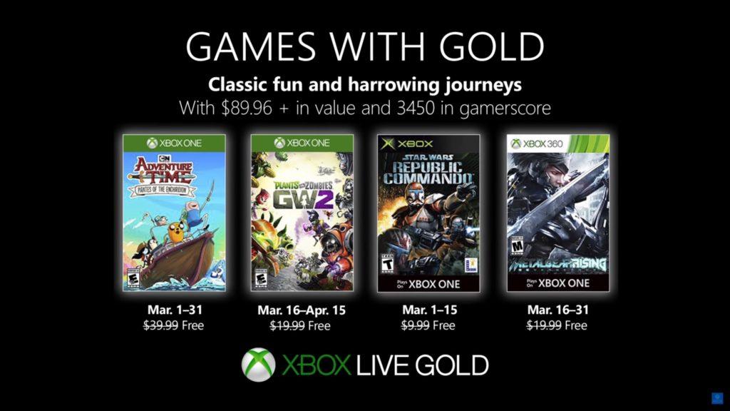 Games with Gold : les jeux de mars 2019