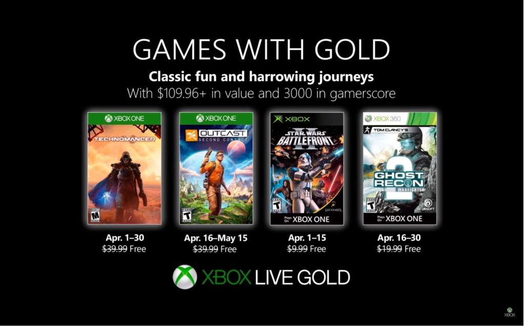 Games with Gold : les jeux d'avril 2019