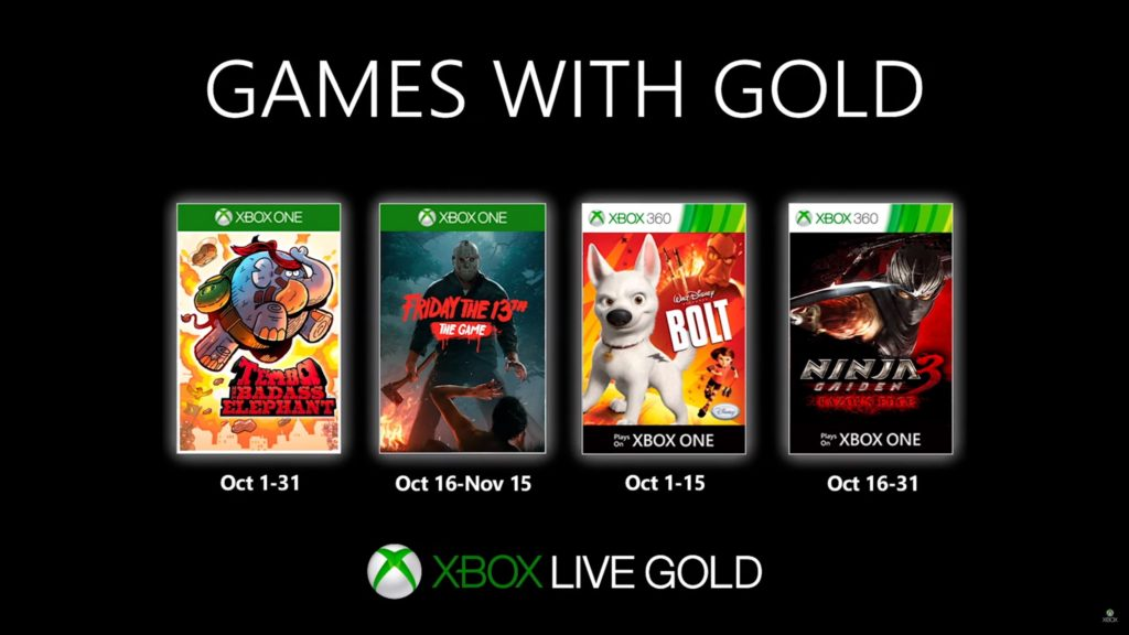Games with Gold : les jeux d'octobre 2019