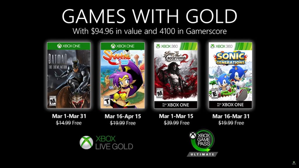 Games with Gold : les jeux de mars 2020