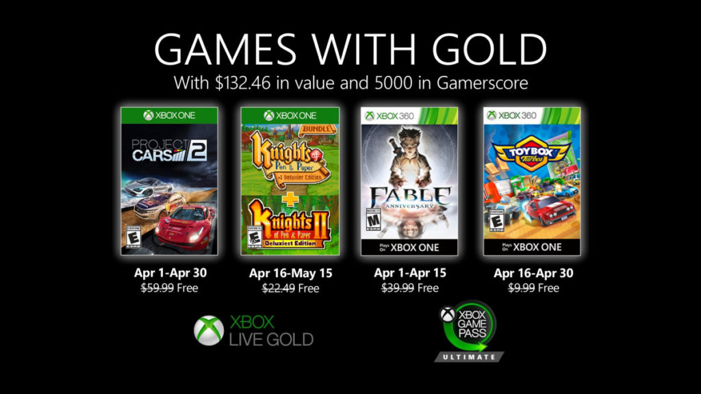 Games with Gold : les jeux d'avril 2020