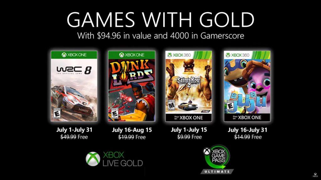 Games with Gold : les jeux de juillet 2020