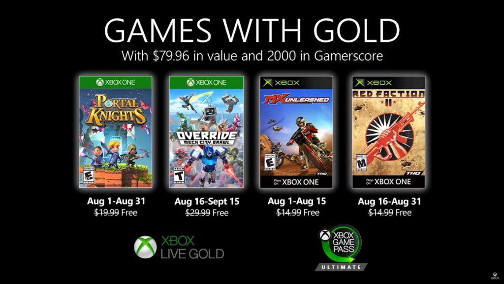 Games with Gold : les jeux d'aout 2020