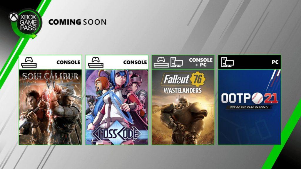 SoulCaliburVI, Fallout 76 et deux autres titres arrivent dans le Xbox Game Pass