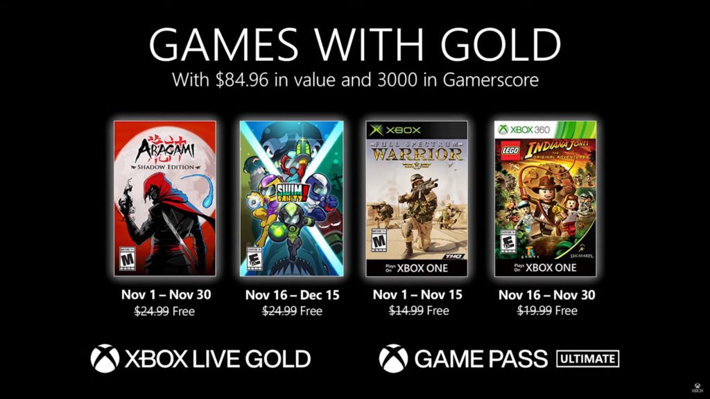 Games with Gold : les jeux de novembre 2020
