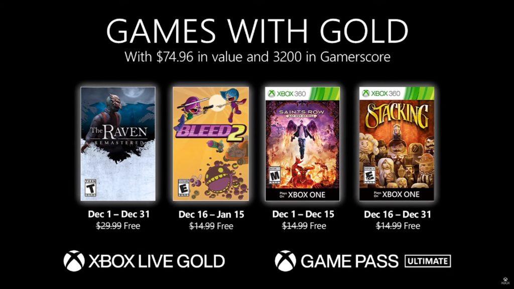Games with Gold : les jeux de décembre 2020