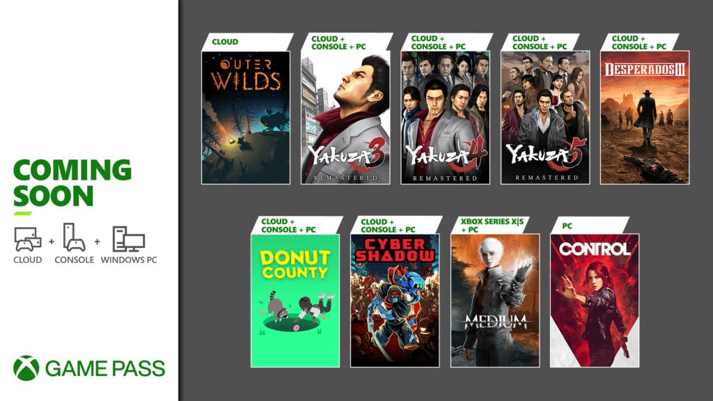 Sept jeux à destination du Xbox Game Pass, dont trois Yakuza