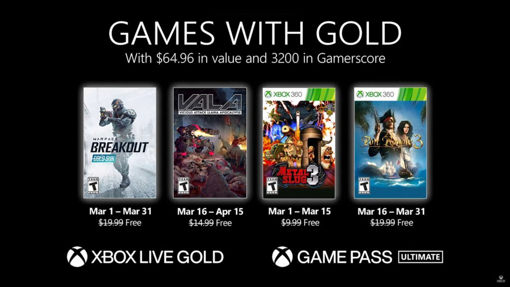 Games with Gold : les jeux de mars 2021