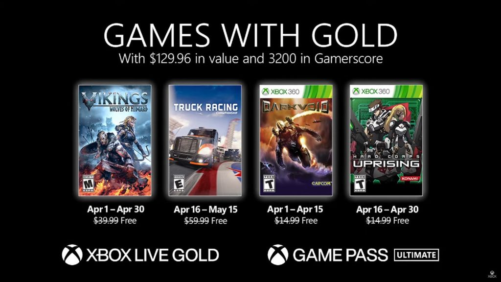 Games with Gold : les jeux d'avril 2021