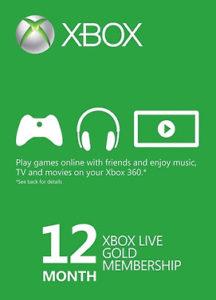Abonnement Xbox Live Gold<br>12 mois