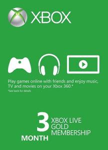 Abonnement Xbox Live Gold<br>3 mois