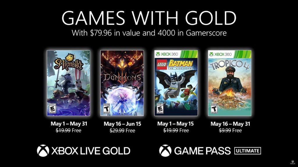 Games with Gold : les jeux de mai 2021