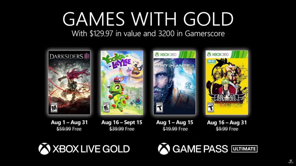 Games with Gold : les jeux de août 2021