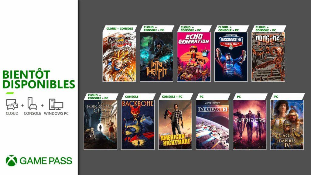 Plusieurs jeux à destination du Xbox Game Pass
